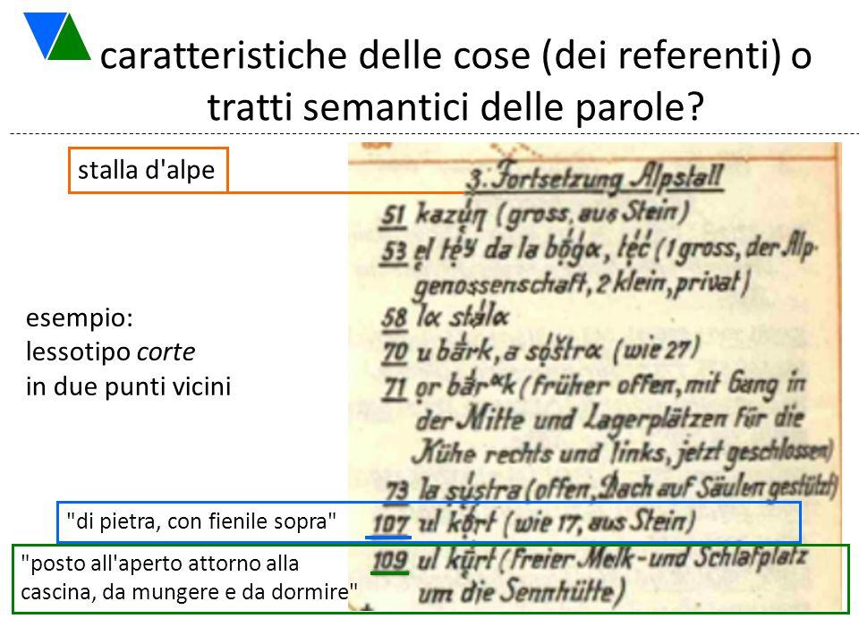 caratteristiche delle cose (dei referenti) o tratti semantici delle parole? esempio: lessotipo corte in due punti vicini