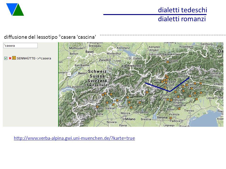 diffusione del lessotipo °casera 'cascina' dialetti tedeschi dialetti romanzi http://www.verba-alpina.gwi.uni-muenchen.de/?karte=true