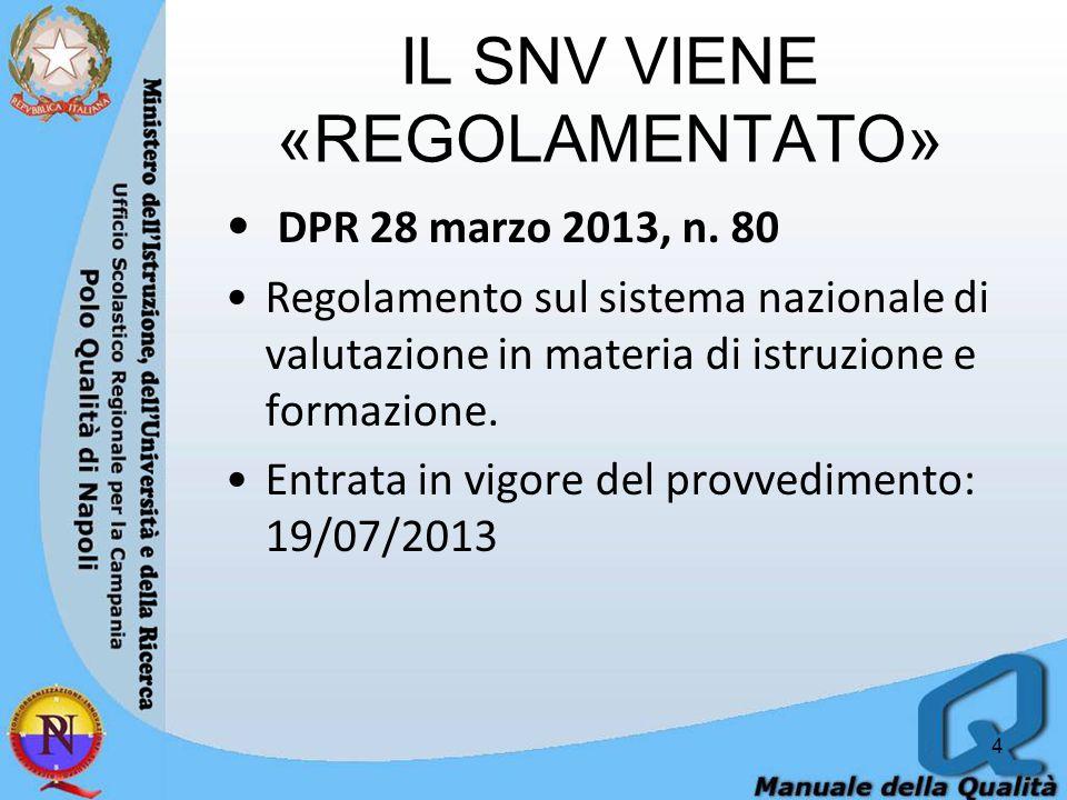 IL SNV VIENE «REGOLAMENTATO» DPR 28 marzo 2013, n.