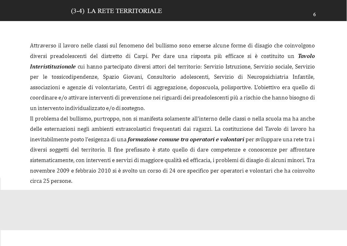 8 PROGETTI DI INCLUSIONE SOCIALE 17 TOTALI N° ORE dall a.s.