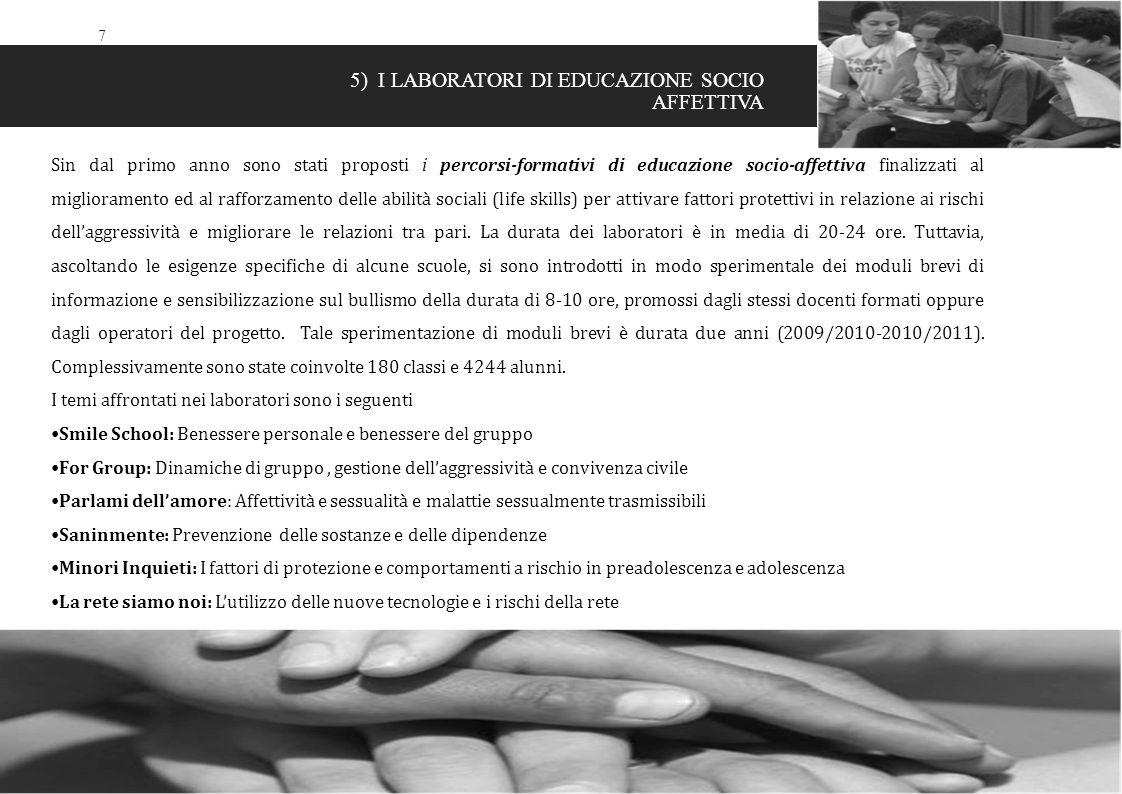 7 5) I LABORATORI DI EDUCAZIONE SOCIO AFFETTIVA Sin dal primo anno sono stati proposti i percorsi-formativi di educazione socio-affettiva finalizzati