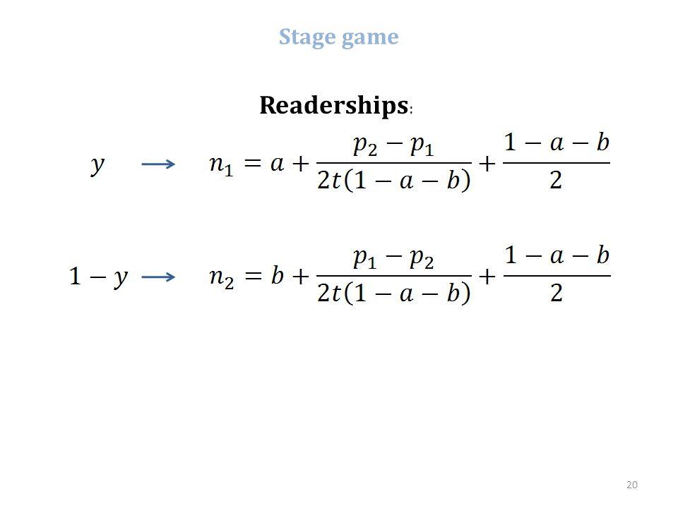 Stage game Readerships : 20