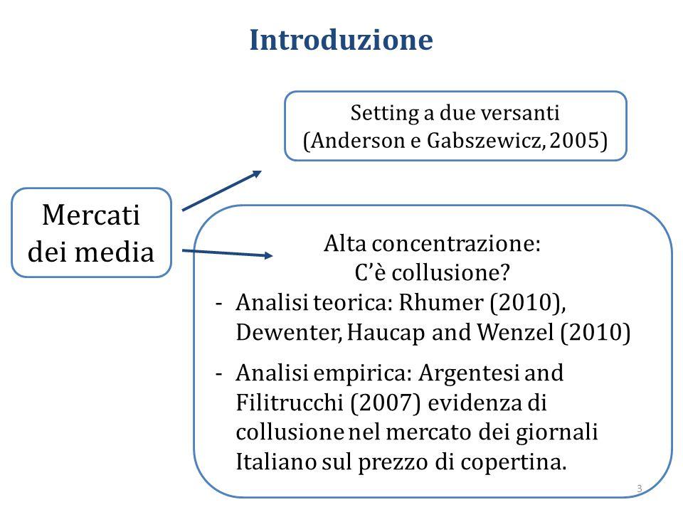 Introduzione Mercati dei media Setting a due versanti (Anderson e Gabszewicz, 2005) Alta concentrazione: C'è collusione? -Analisi teorica: Rhumer (201