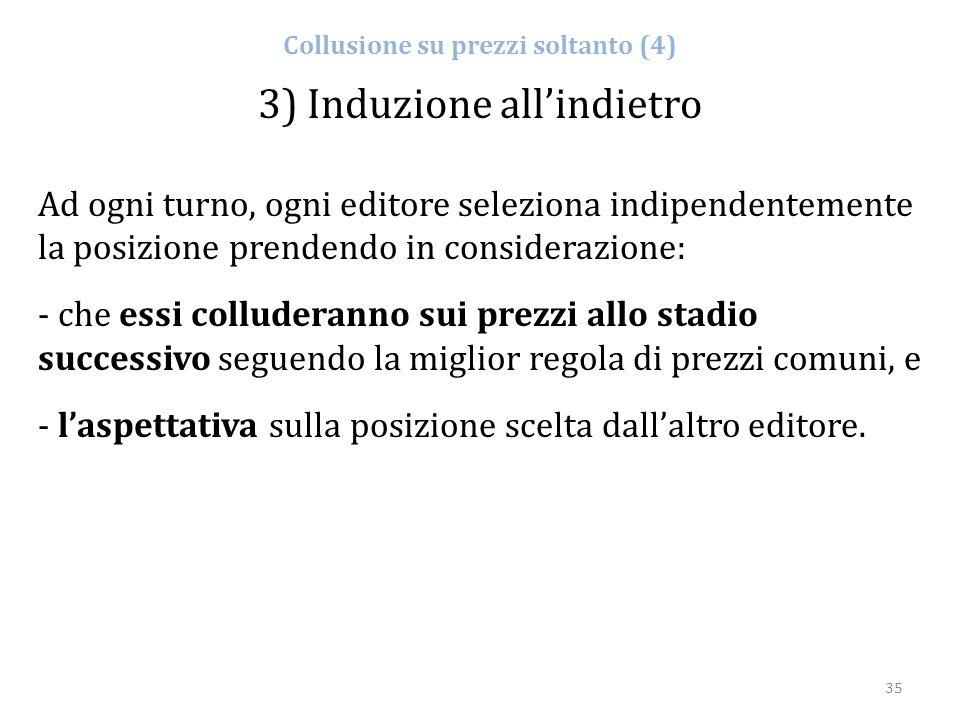 3) Induzione all'indietro 35 Collusione su prezzi soltanto (4) Ad ogni turno, ogni editore seleziona indipendentemente la posizione prendendo in consi