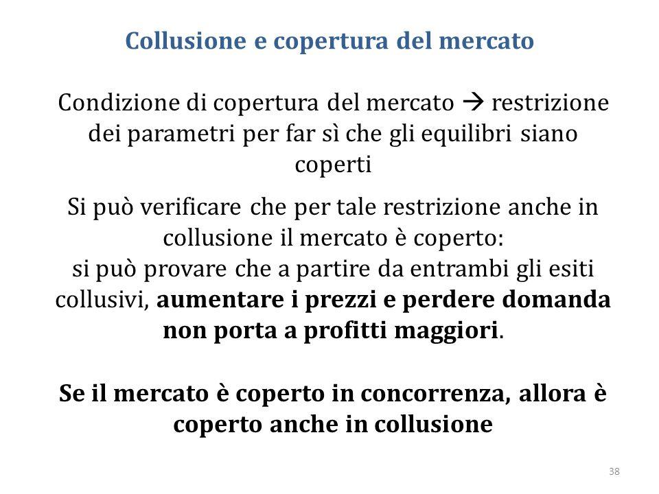 38 Collusione e copertura del mercato Condizione di copertura del mercato  restrizione dei parametri per far sì che gli equilibri siano coperti Si pu