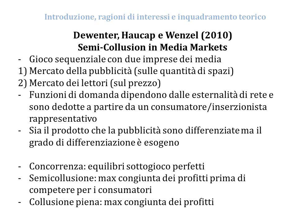Introduzione, ragioni di interessi e inquadramento teorico Dewenter, Haucap e Wenzel (2010) Semi-Collusion in Media Markets -Gioco sequenziale con due