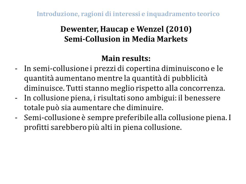 Dewenter, Haucap e Wenzel (2010) Semi-Collusion in Media Markets Main results: -In semi-collusione i prezzi di copertina diminuiscono e le quantità au