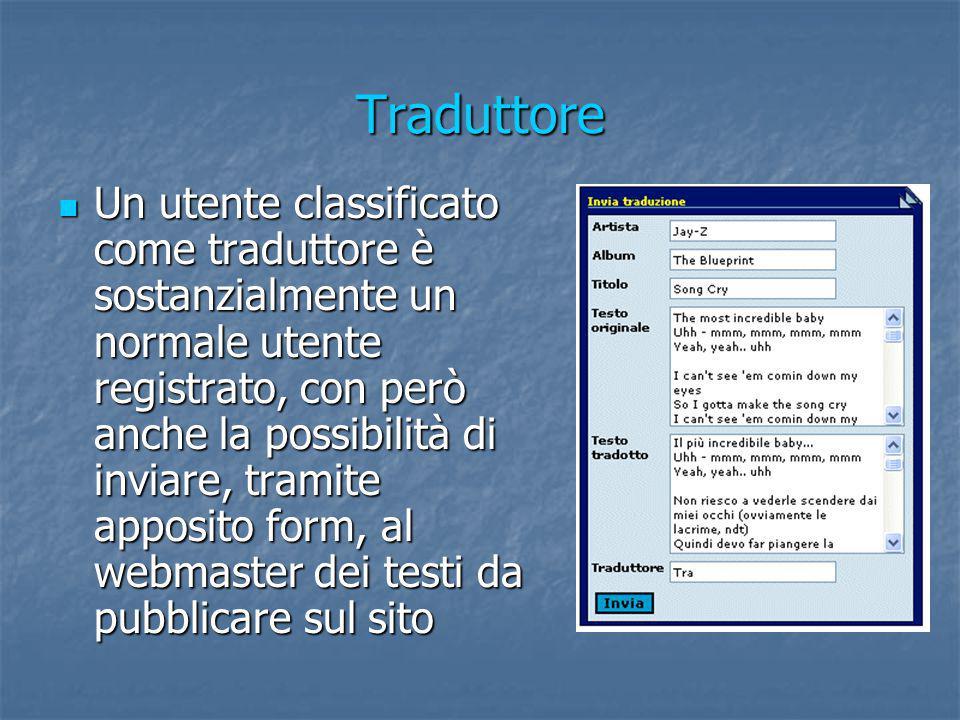Traduttore Un utente classificato come traduttore è sostanzialmente un normale utente registrato, con però anche la possibilità di inviare, tramite ap