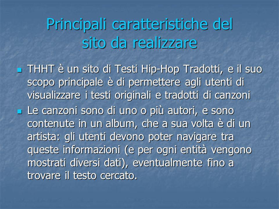Principali caratteristiche del sito da realizzare THHT è un sito di Testi Hip-Hop Tradotti, e il suo scopo principale è di permettere agli utenti di v
