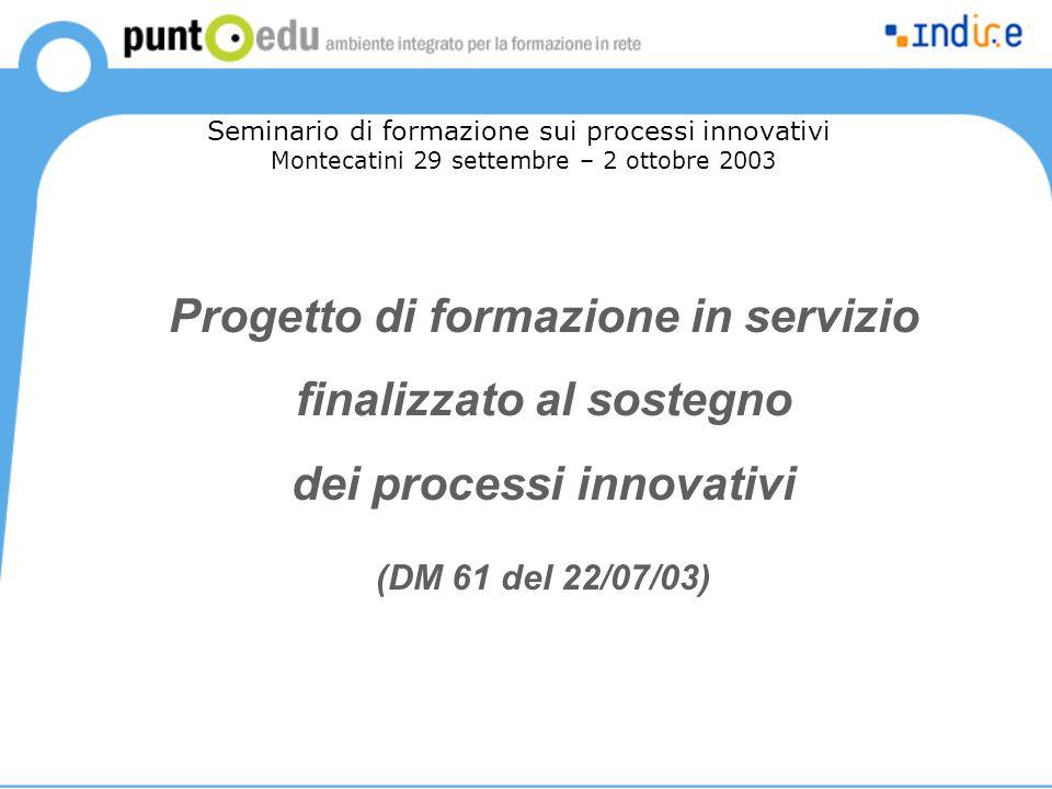 Progetto di formazione in servizio finalizzato al sostegno dei processi innovativi (DM 61 del 22/07/03) Seminario di formazione sui processi innovativi Montecatini 29 settembre – 2 ottobre 2003