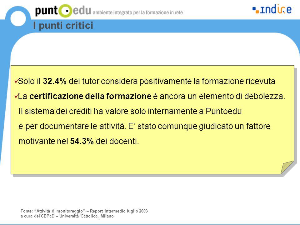 I punti critici Solo il 32.4% dei tutor considera positivamente la formazione ricevuta La certificazione della formazione è ancora un elemento di debolezza.