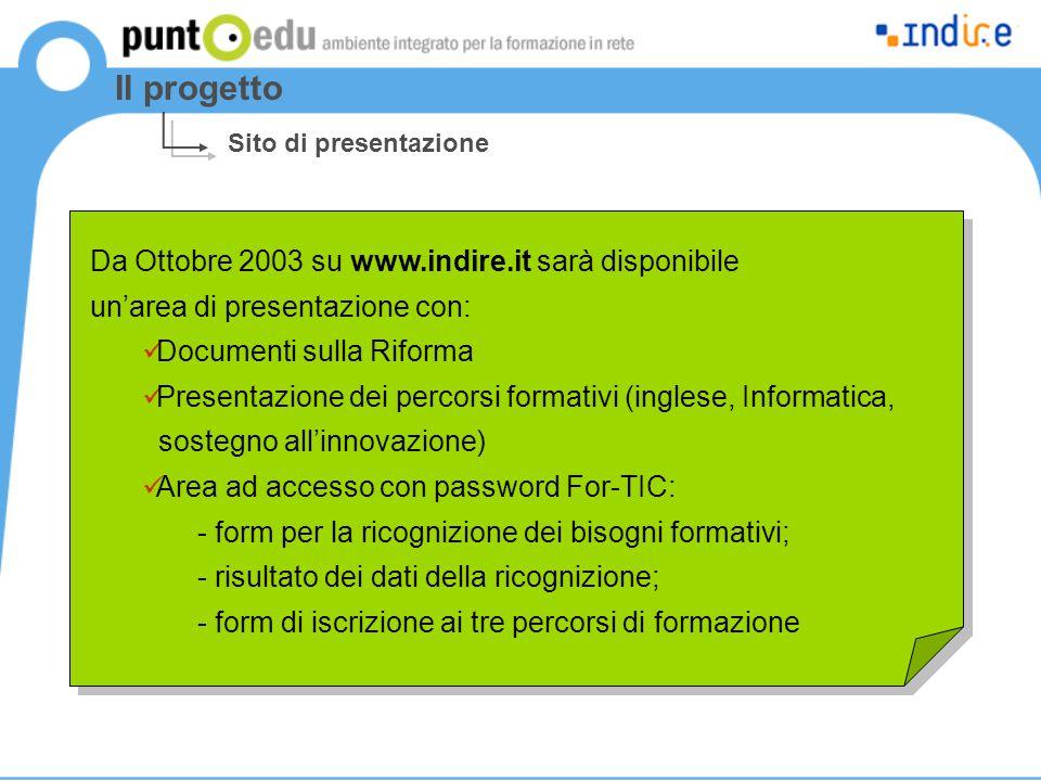 Da Ottobre 2003 su www.indire.it sarà disponibile un'area di presentazione con: Documenti sulla Riforma Presentazione dei percorsi formativi (inglese, Informatica, sostegno all'innovazione) Area ad accesso con password For-TIC: - form per la ricognizione dei bisogni formativi; - risultato dei dati della ricognizione; - form di iscrizione ai tre percorsi di formazione Da Ottobre 2003 su www.indire.it sarà disponibile un'area di presentazione con: Documenti sulla Riforma Presentazione dei percorsi formativi (inglese, Informatica, sostegno all'innovazione) Area ad accesso con password For-TIC: - form per la ricognizione dei bisogni formativi; - risultato dei dati della ricognizione; - form di iscrizione ai tre percorsi di formazione Il progetto Sito di presentazione