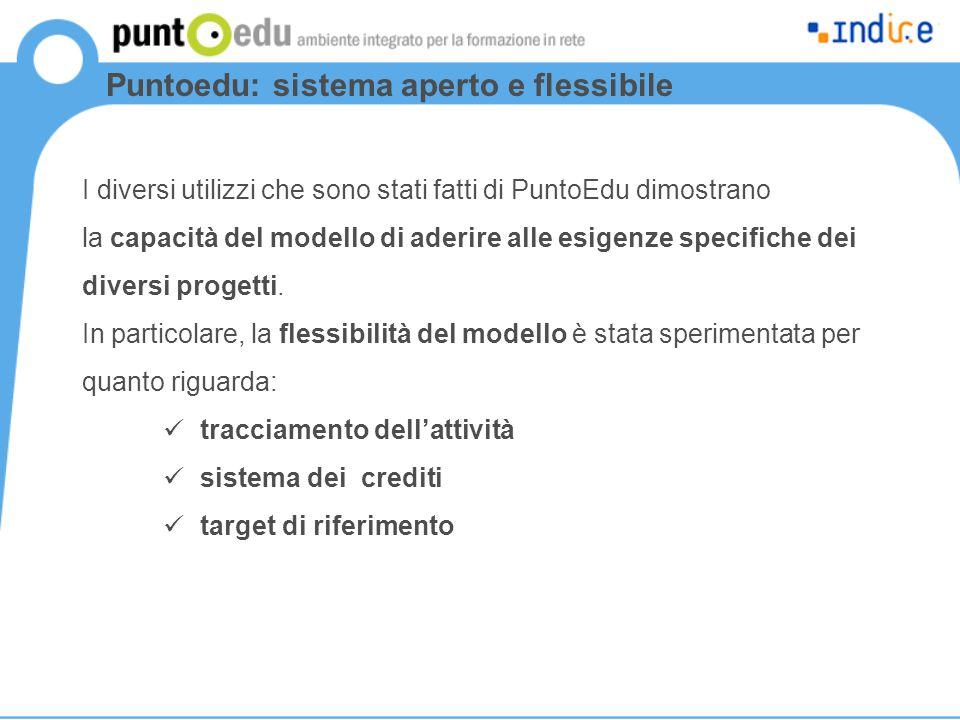 Puntoedu: sistema aperto e flessibile I diversi utilizzi che sono stati fatti di PuntoEdu dimostrano la capacità del modello di aderire alle esigenze specifiche dei diversi progetti.