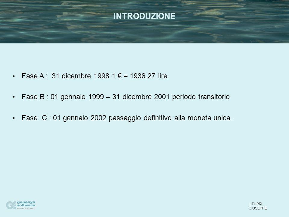 Fase A : 31 dicembre 1998 1 € = 1936.27 lire Fase B : 01 gennaio 1999 – 31 dicembre 2001 periodo transitorio Fase C : 01 gennaio 2002 passaggio definitivo alla moneta unica.