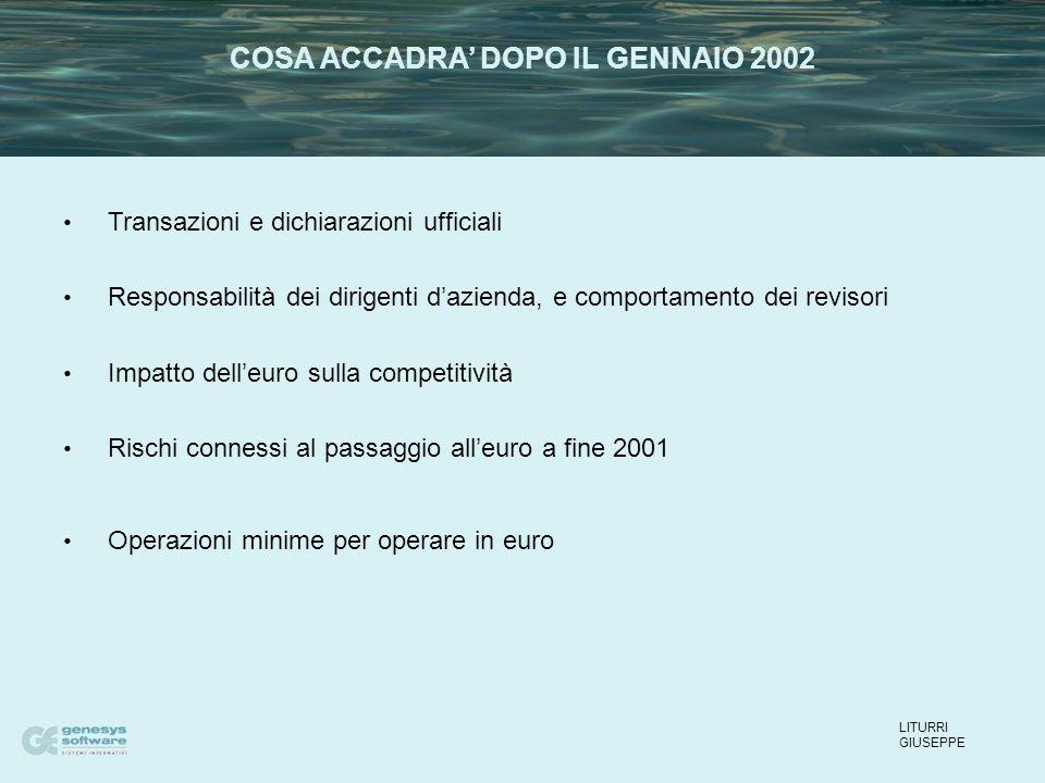 Transazioni e dichiarazioni ufficiali Responsabilità dei dirigenti d'azienda, e comportamento dei revisori Impatto dell'euro sulla competitività Rischi connessi al passaggio all'euro a fine 2001 Operazioni minime per operare in euro LITURRI GIUSEPPE COSA ACCADRA' DOPO IL GENNAIO 2002