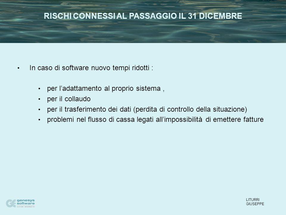 In caso di software nuovo tempi ridotti : per l'adattamento al proprio sistema, per il collaudo per il trasferimento dei dati (perdita di controllo de