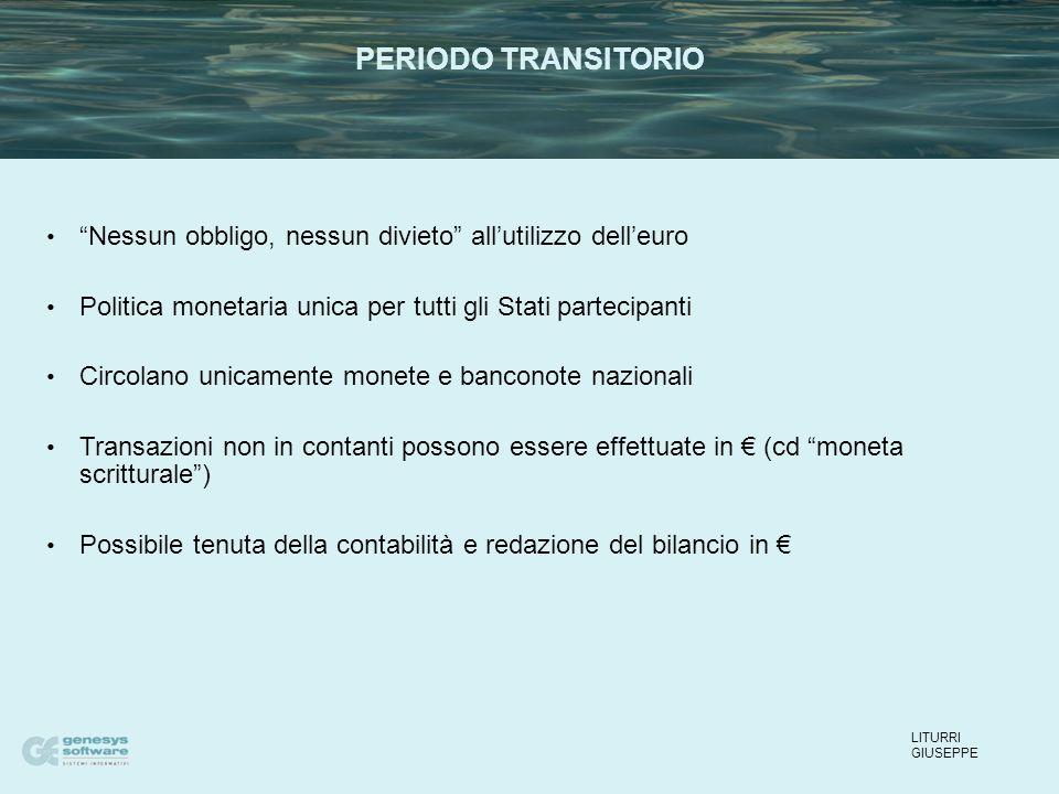 01 Gennaio 2002 Immissione in circolazione dell'euro, tenuta della contabilità in euro.