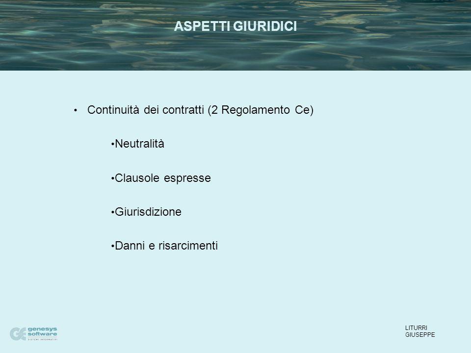 Continuità dei contratti (2 Regolamento Ce) Neutralità Clausole espresse Giurisdizione Danni e risarcimenti LITURRI GIUSEPPE ASPETTI GIURIDICI