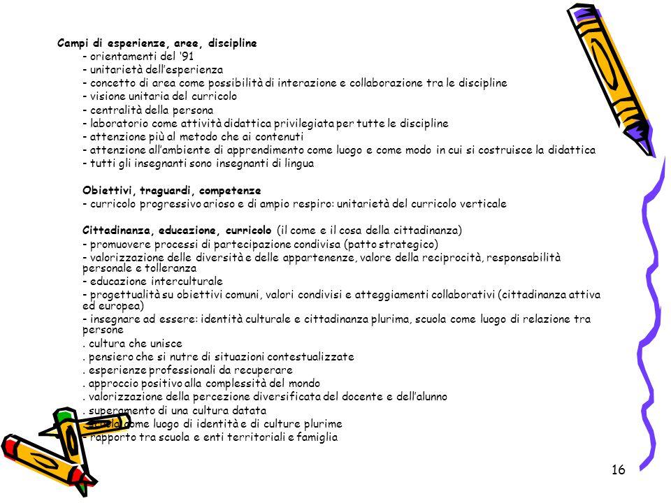 16 Campi di esperienze, aree, discipline - orientamenti del '91 - unitarietà dell'esperienza - concetto di area come possibilità di interazione e coll