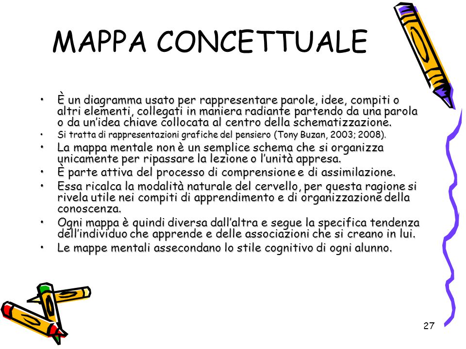 27 MAPPA CONCETTUALE È un diagramma usato per rappresentare parole, idee, compiti o altri elementi, collegati in maniera radiante partendo da una paro