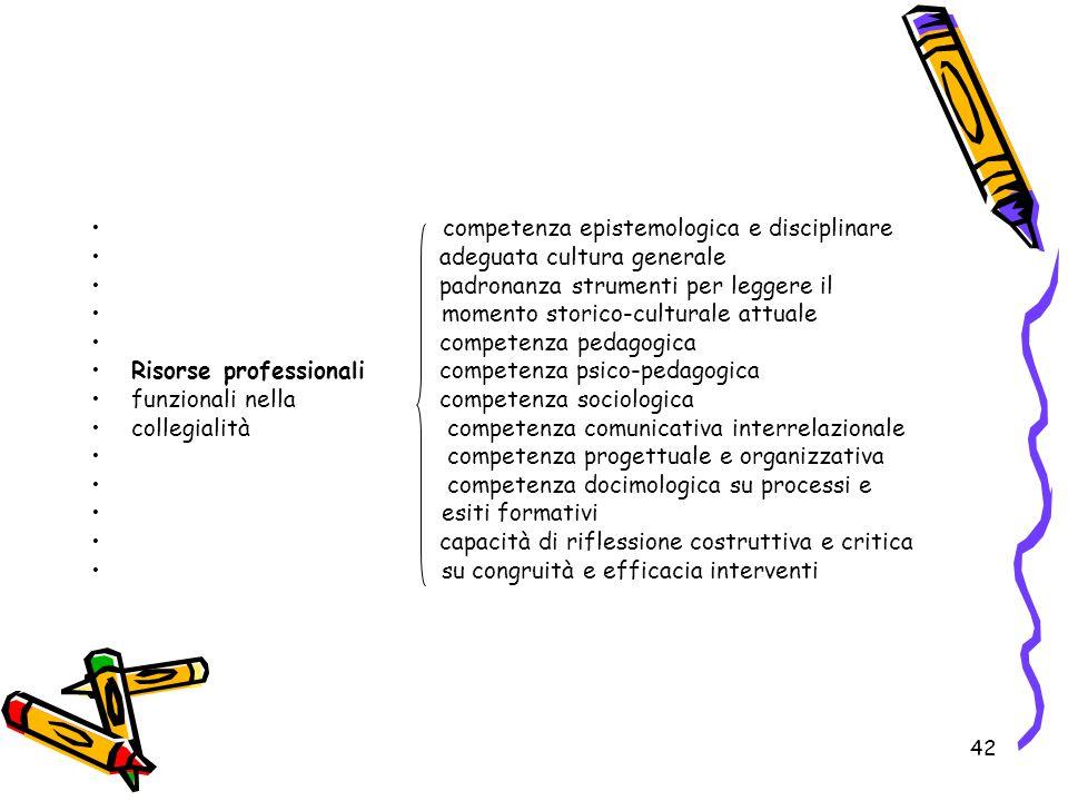 42 competenza epistemologica e disciplinare adeguata cultura generale padronanza strumenti per leggere il momento storico-culturale attuale competenza