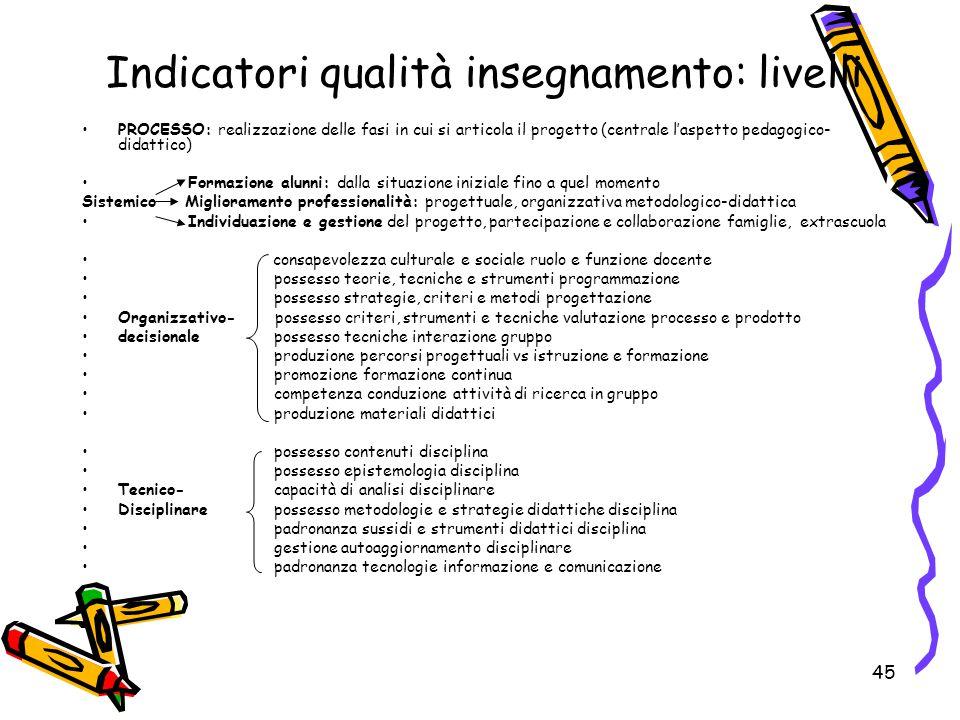 45 PROCESSO: realizzazione delle fasi in cui si articola il progetto (centrale l'aspetto pedagogico- didattico) Formazione alunni: dalla situazione in