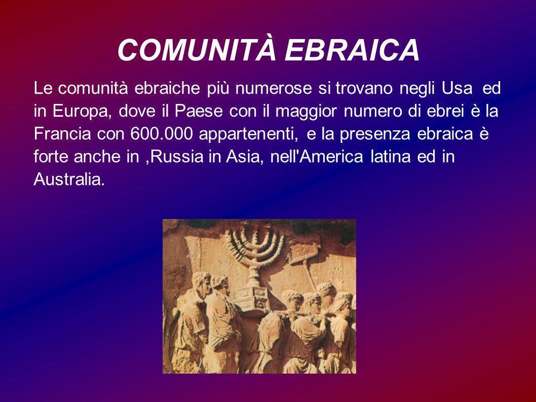 COMUNITÀ EBRAICA Le comunità ebraiche più numerose si trovano negli Usa ed in Europa, dove il Paese con il maggior numero di ebrei è la Francia con 60