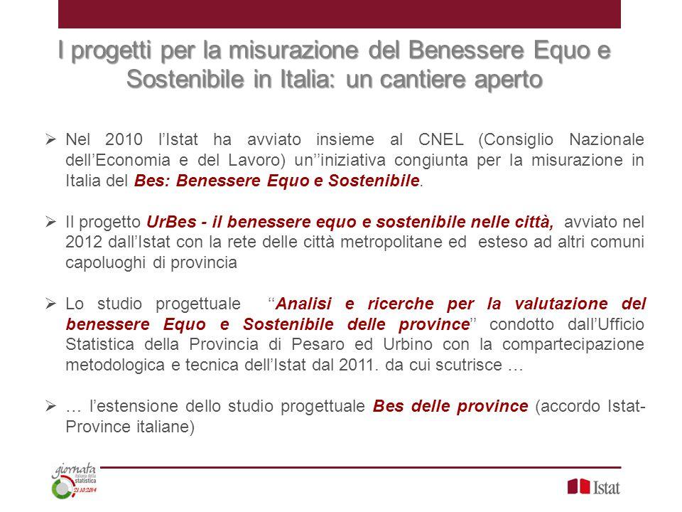 I progetti per la misurazione del Benessere Equo e Sostenibile in Italia: un cantiere aperto  Nel 2010 l'Istat ha avviato insieme al CNEL (Consiglio Nazionale dell'Economia e del Lavoro) un''iniziativa congiunta per la misurazione in Italia del Bes: Benessere Equo e Sostenibile.