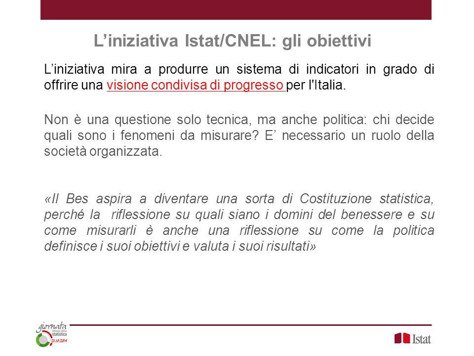 L'iniziativa Istat/CNEL: gli obiettivi L'iniziativa mira a produrre un sistema di indicatori in grado di offrire una visione condivisa di progresso per l Italia.