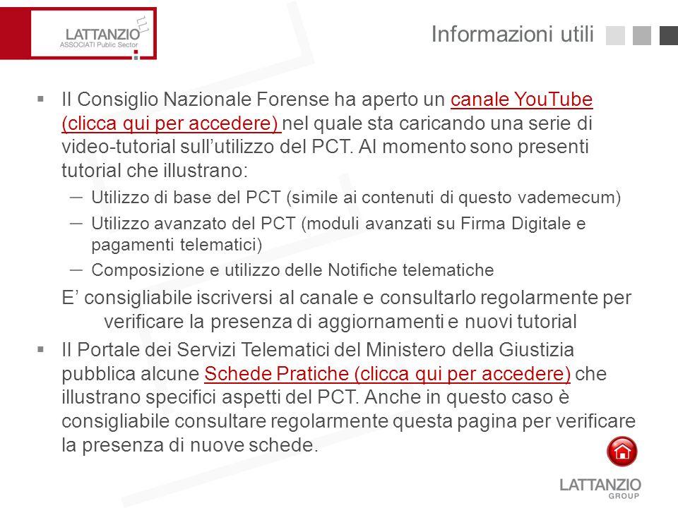 Informazioni utili28  Il Consiglio Nazionale Forense ha aperto un canale YouTube (clicca qui per accedere) nel quale sta caricando una serie di video
