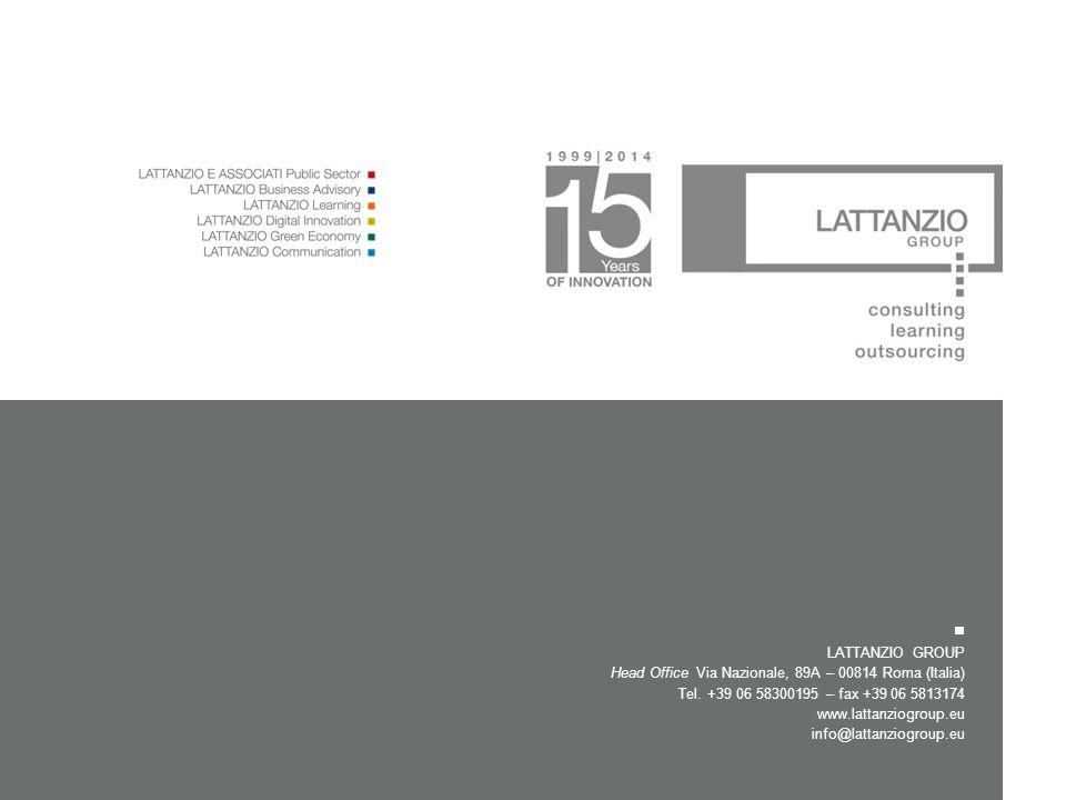 LATTANZIO GROUP Head Office Via Nazionale, 89A – 00814 Roma (Italia) Tel. +39 06 58300195 – fax +39 06 5813174 www.lattanziogroup.eu info@lattanziogro