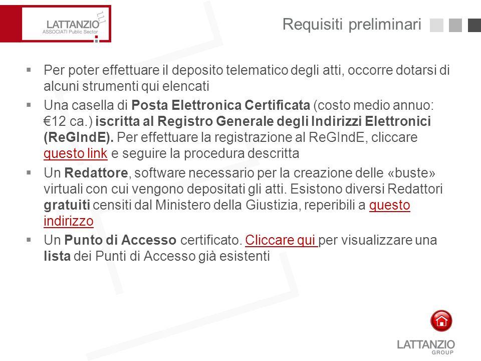 Requisiti preliminari 6  Per poter effettuare il deposito telematico degli atti, occorre dotarsi di alcuni strumenti qui elencati  Una casella di Po