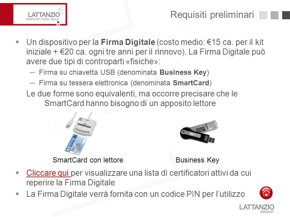 Requisiti preliminari 7  Un dispositivo per la Firma Digitale (costo medio: €15 ca. per il kit iniziale + €20 ca. ogni tre anni per il rinnovo). La F