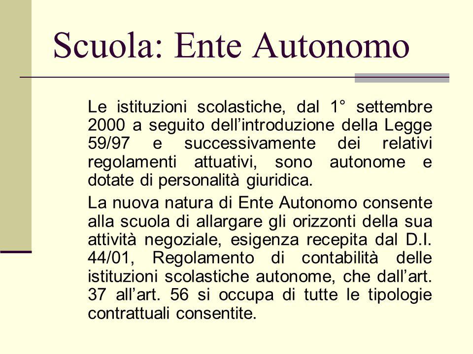 Scuola: Ente Autonomo Le istituzioni scolastiche, dal 1° settembre 2000 a seguito dell'introduzione della Legge 59/97 e successivamente dei relativi r