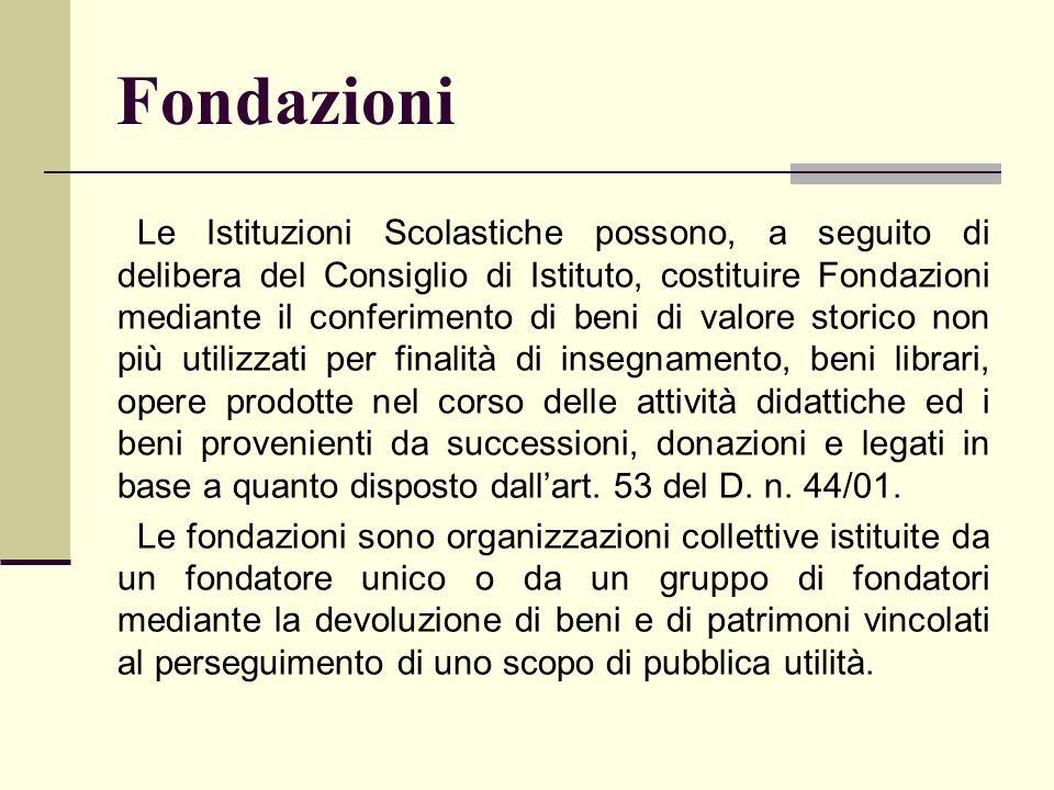 Fondazioni Le Istituzioni Scolastiche possono, a seguito di delibera del Consiglio di Istituto, costituire Fondazioni mediante il conferimento di beni