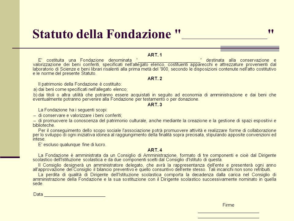 Statuto della Fondazione