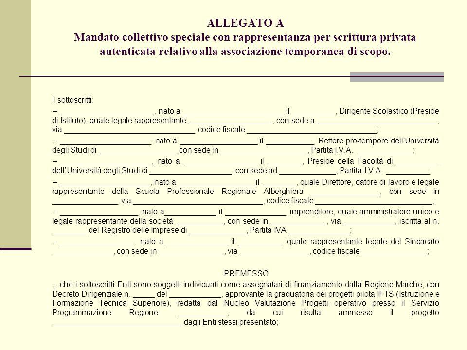 ALLEGATO A Mandato collettivo speciale con rappresentanza per scrittura privata autenticata relativo alla associazione temporanea di scopo. I sottoscr