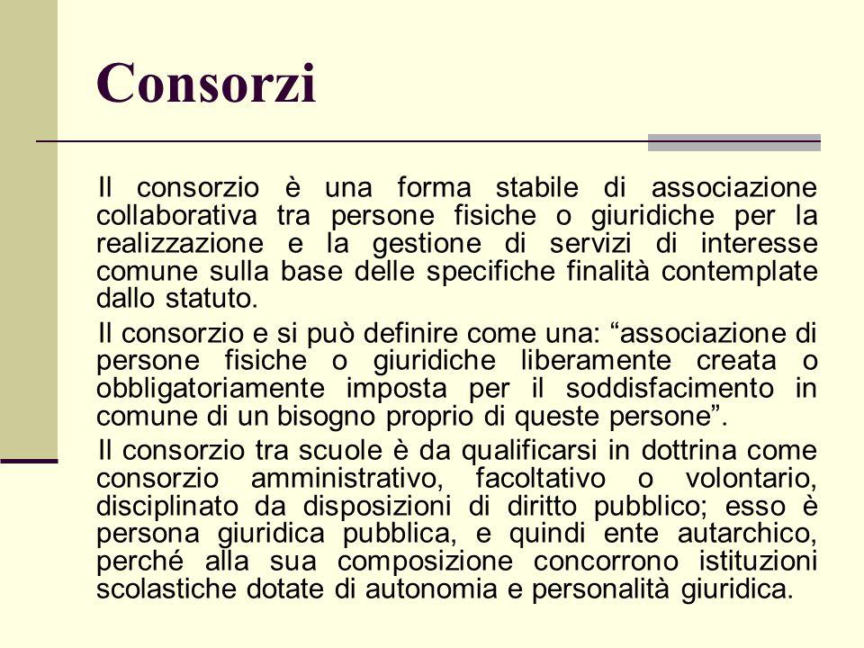 Consorzi Il consorzio è una forma stabile di associazione collaborativa tra persone fisiche o giuridiche per la realizzazione e la gestione di servizi