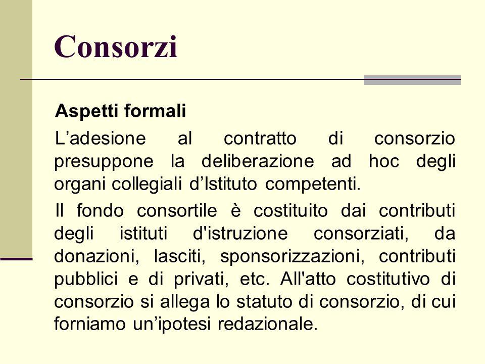 Consorzi Aspetti formali L'adesione al contratto di consorzio presuppone la deliberazione ad hoc degli organi collegiali d'Istituto competenti. Il fon