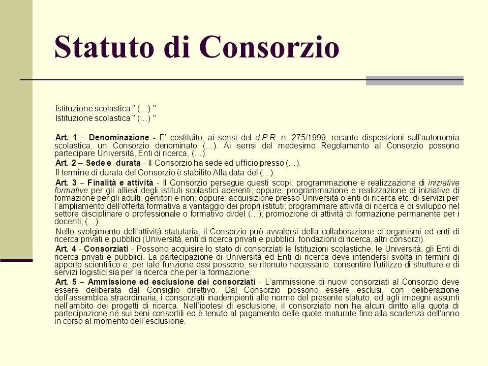Statuto di Consorzio Istituzione scolastica
