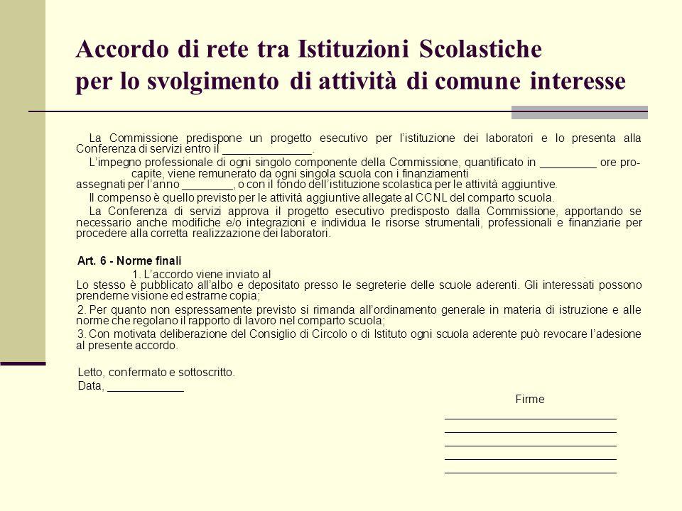 Accordo di rete tra Istituzioni Scolastiche per lo svolgimento di attività di comune interesse La Commissione predispone un progetto esecutivo per l'i