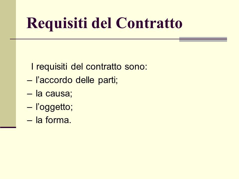 Requisiti del Contratto I requisiti del contratto sono: –l'accordo delle parti; –la causa; –l'oggetto; –la forma.