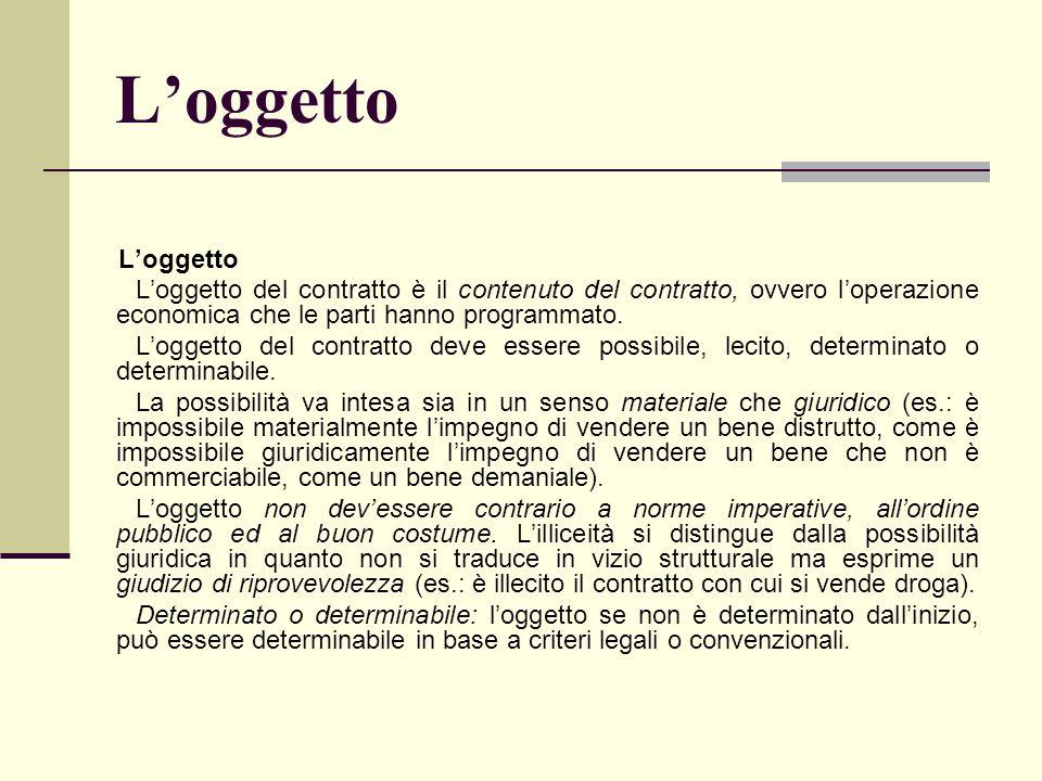 L'oggetto L'oggetto del contratto è il contenuto del contratto, ovvero l'operazione economica che le parti hanno programmato. L'oggetto del contratto