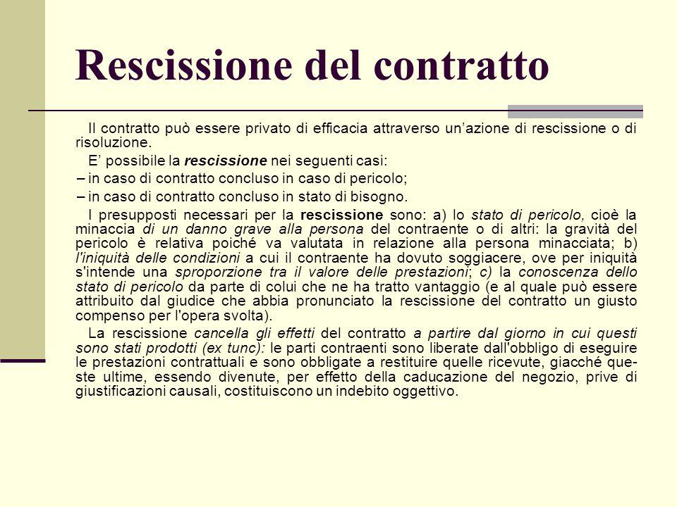 Rescissione del contratto Il contratto può essere privato di efficacia attraverso un'azione di rescissione o di risoluzione. E' possibile la rescissio