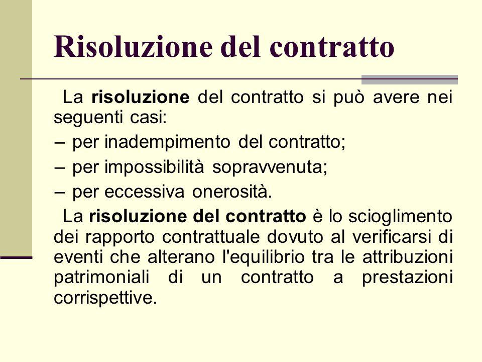 Risoluzione del contratto La risoluzione del contratto si può avere nei seguenti casi: –per inadempimento del contratto; –per impossibilità sopravvenu