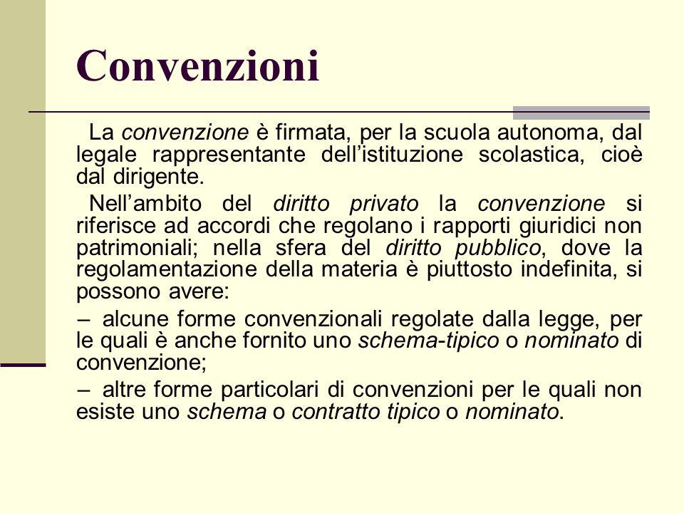 Convenzioni La convenzione è firmata, per la scuola autonoma, dal legale rappresentante dell'istituzione scolastica, cioè dal dirigente. Nell'ambito d