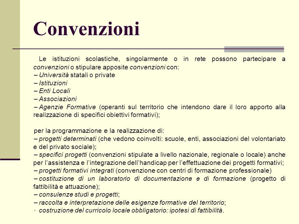 Convenzioni Le istituzioni scolastiche, singolarmente o in rete possono partecipare a convenzioni o stipulare apposite convenzioni con: –Università st