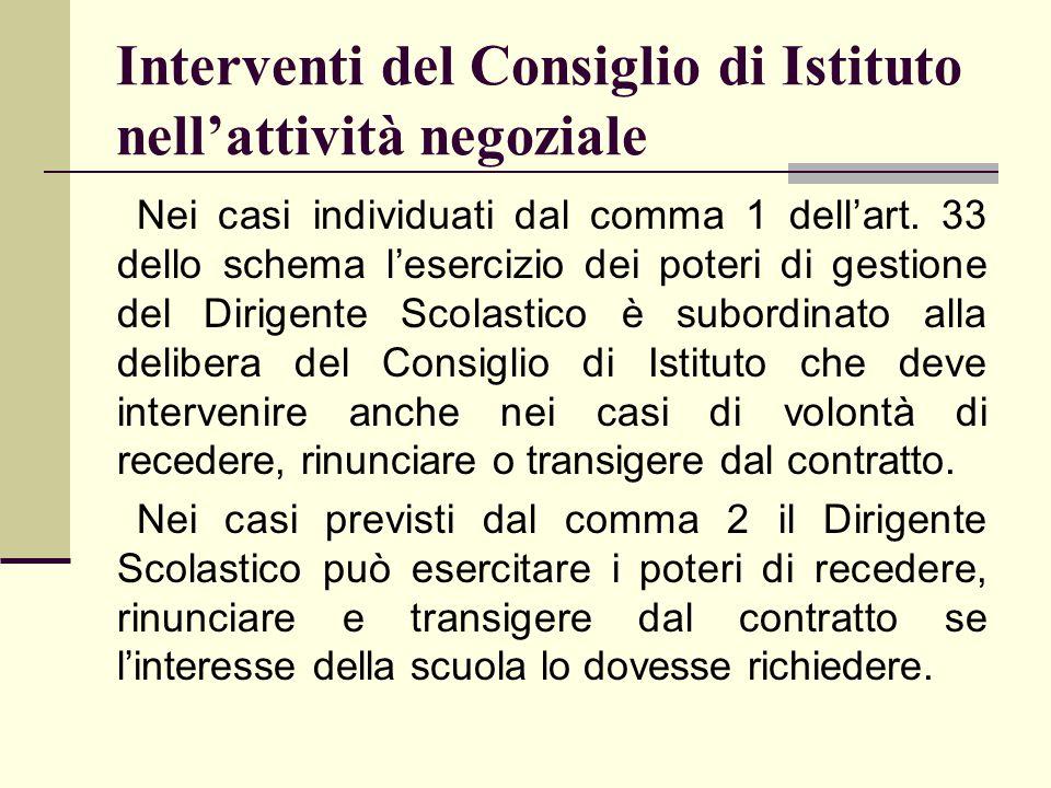 Interventi del Consiglio di Istituto nell'attività negoziale Nei casi individuati dal comma 1 dell'art. 33 dello schema l'esercizio dei poteri di gest
