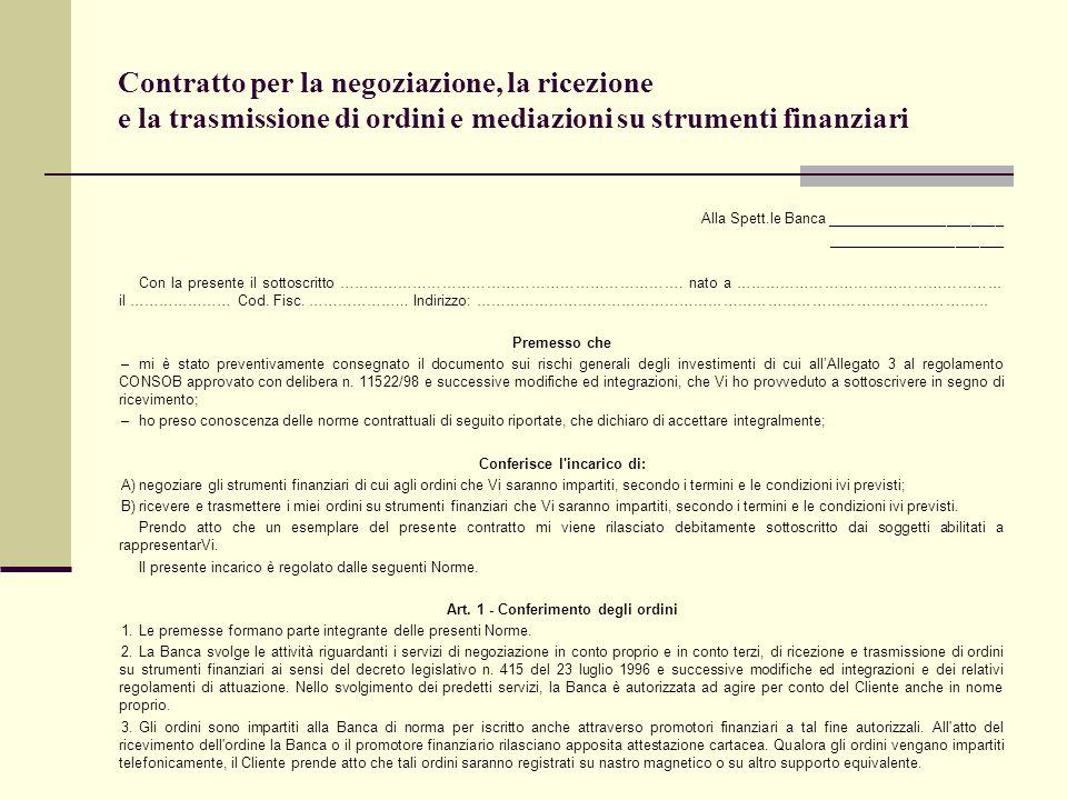 Contratto per la negoziazione, la ricezione e la trasmissione di ordini e mediazioni su strumenti finanziari Alla Spett.le Banca _____________________