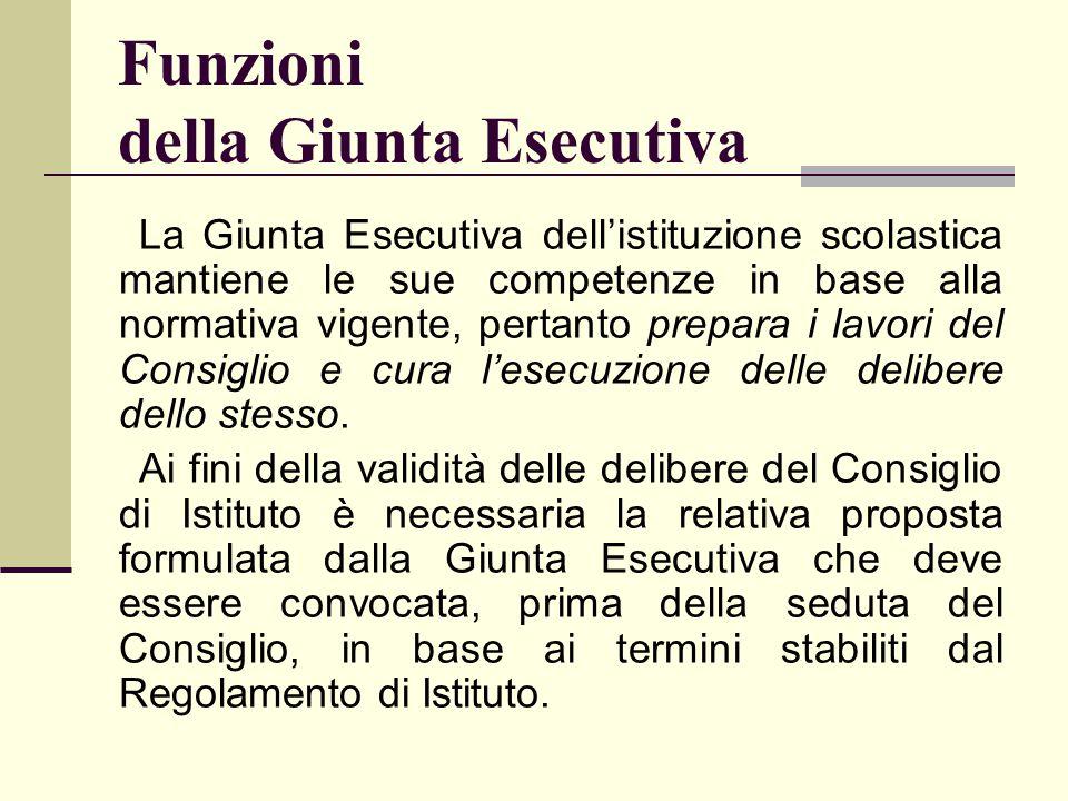 Funzioni della Giunta Esecutiva La Giunta Esecutiva dell'istituzione scolastica mantiene le sue competenze in base alla normativa vigente, pertanto pr